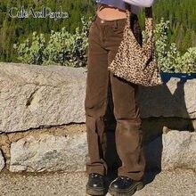 Pantalones rectos y2k de pana para mujer, pantalón de chándal informal, Vintage, marrón, Harajuku, años 90, Cuteandpsycho