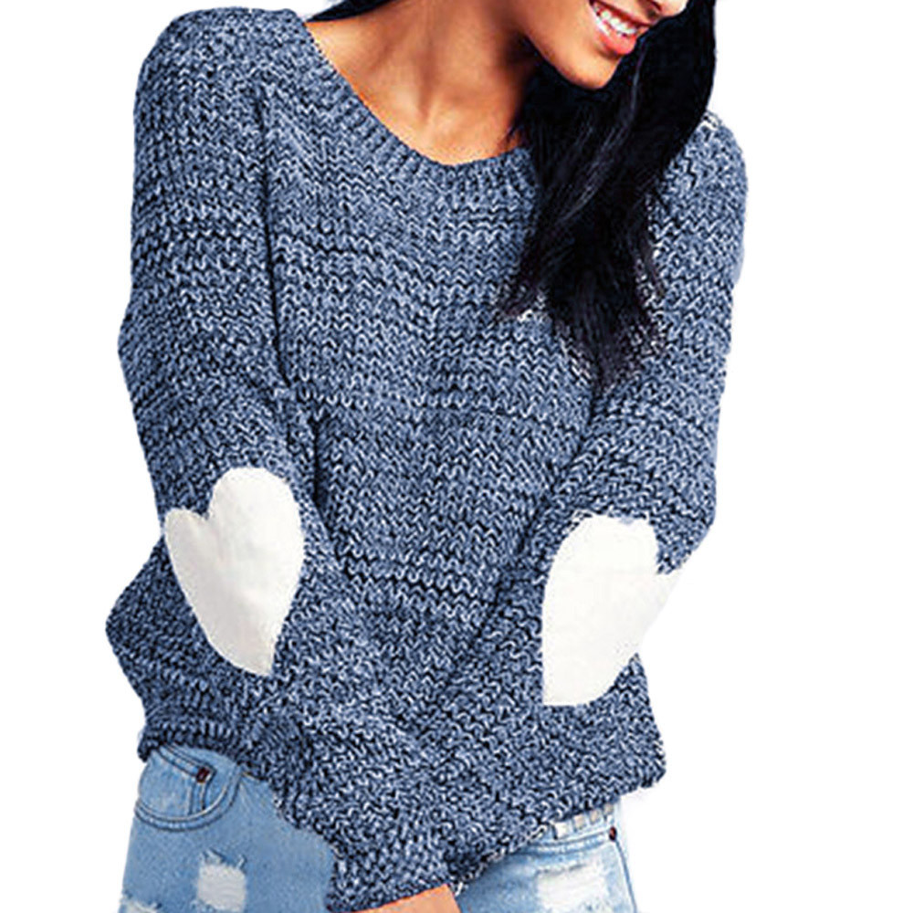 Women Simple Knitted Sweaters Loose Casual Pullovers Lady Heart-Shape Printed Tops Winter Long Sleeve Slim Fit Jumper Warm Knits