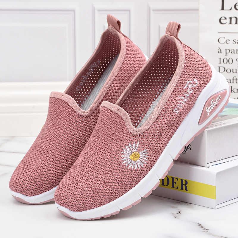 2020 여름 여성 신발 캐주얼 신발 통기성 스 니 커 즈 여성 새 도착 패션 작은 데이지 메쉬 스 니 커 즈 신발 여성
