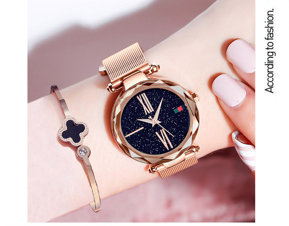 Luxury Minimalism Starry sky Magnet Rose Gold Women Watches 9