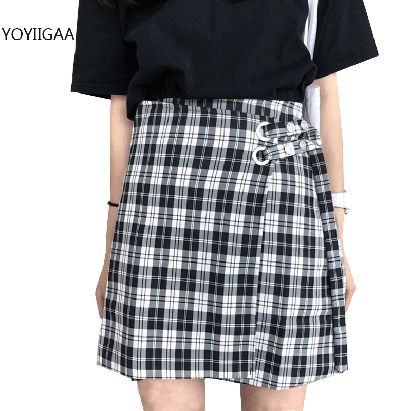 Women High Waist Plaid Skirt Summer Sexy Ladies Mini Skirts Harajuku Preppy Style Women's Short Skirt Sweet Dance Girls Skirts