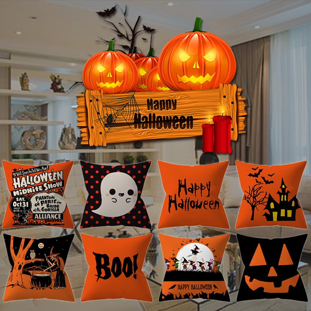 Halloween Pumpkin Pillow Cases Cartoon Pattern Square Pillow Case Covers For Halloween Gift 45*45cm
