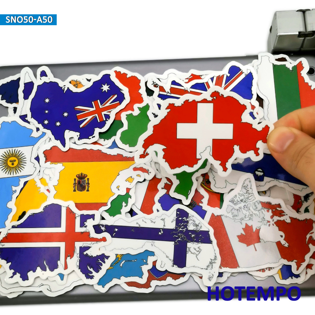 50pcs Map Travel Style National Flags Stickers Toys For Kids Mobile Phone Laptop Luggage Case Skateboard Bike Car Decal Stickers