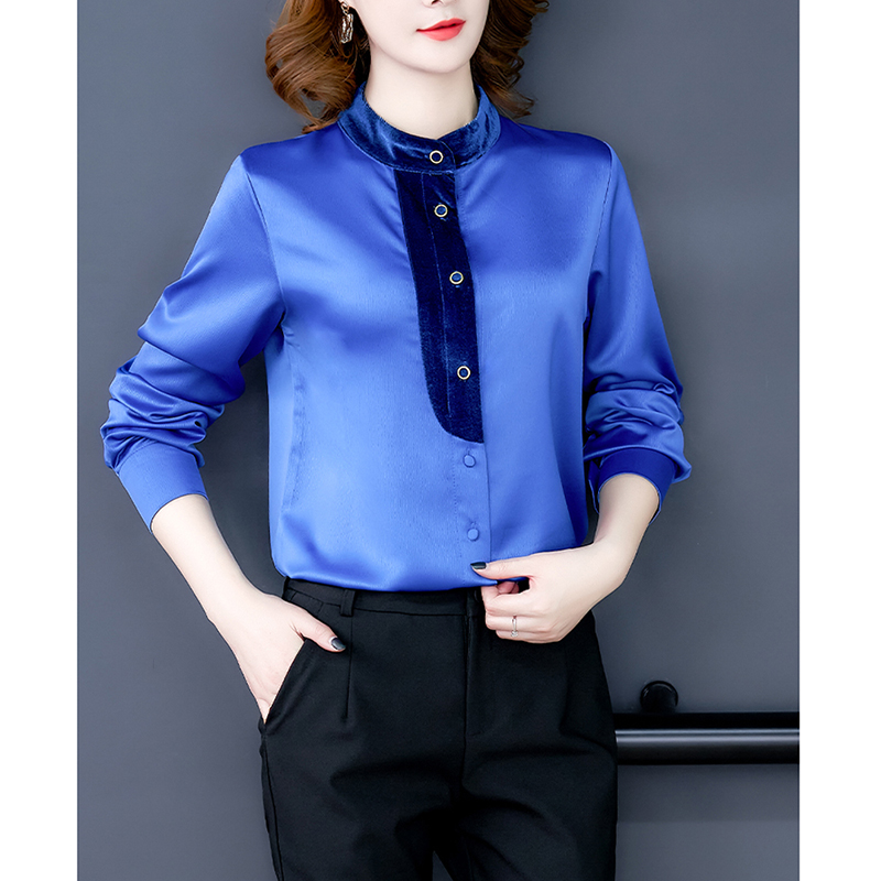 Rayon Chiffon Blouse Women Long Sleeve Stand Collar Female Shirt Slim Solid Elegant Office Lady Tops Temperament Work Clothes