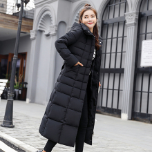 2019 Winter New Cotton Clothing  plus size women Over the knee big hair collar down cotton jacket warm long repair winter coats