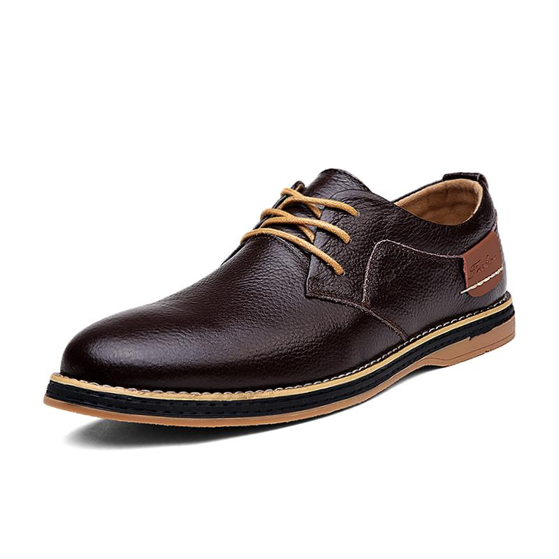 2019 New Men Oxford Genuine Leather Dress Shoes Brogue Lace Up Flats Male Casual Shoes Footwear Loafers Men Big Size 38-48