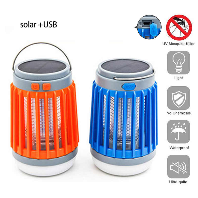 2 in1 LED USB zonne-energie Muggen Killer Lamp portable Lantaarn Outdoor Muggenspray licht Insect Bug muggenval moskito camping