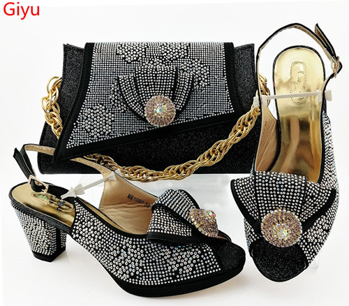 Doershow Fashion Women Nice Black Shoes And Bag Set To Match High Quality Italian Shoes With Matching Bags For Party!SBZ1-17