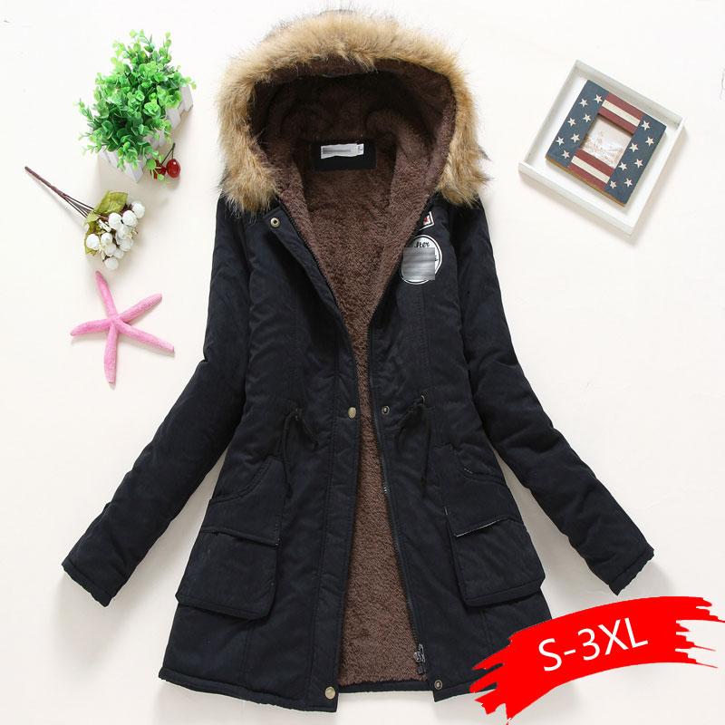 Women Winter Warm Coat Female Autumn Hooded Cotton Fur Plus Size   Basic     Jacket   Outerwear Slim Long Ladies Chaqueta
