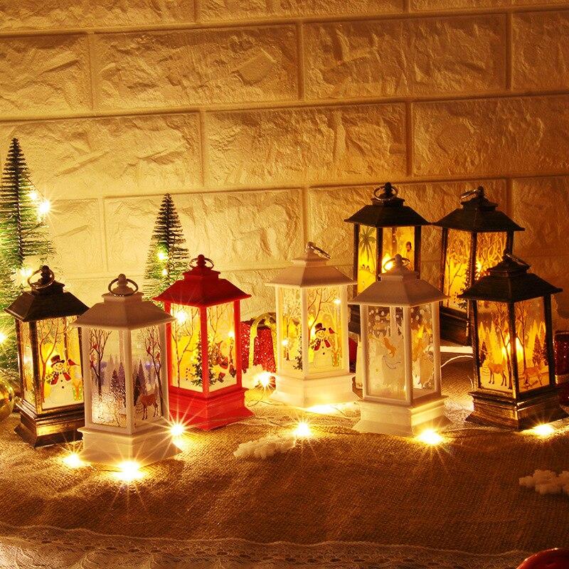 Рождественский светильник s лампа настольная наружного освещения Светодиодный окрашенный светильник подсвечник светильник s винтажный ночной Светильник Санта Снеговик Олень торшер Иисус