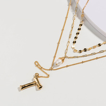 цены New Bohemia Natural Pearl Pendant Necklace Multilayer Chain Necklace  Initial Name Letter Necklace for Women Jewelry Party Gift