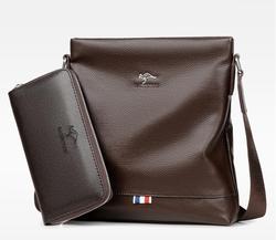 Мужская сумка-тоут на ремне, набор из мягкой кожи, слинг, кошелек и ремень, сумка-мессенджер через плечо
