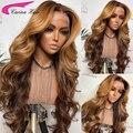 Омбре медовый блонд 180% кружевной передний парик из человеческих волос Волнистые Омбре хайлайтер цвет Предварительно выщипанные бразильск...