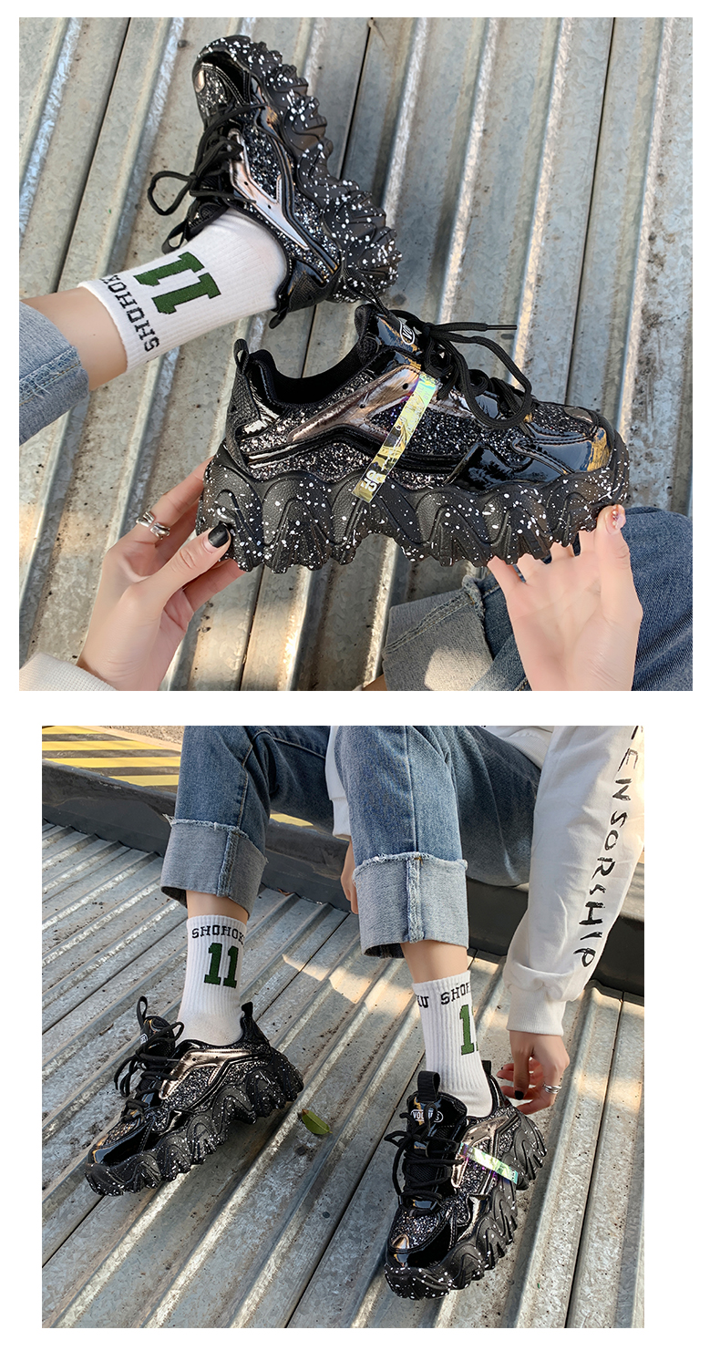 Ha61d7988c3844a2c8bbfcffae9ae567cn - Sneakers Women Spring Fashion Sequined Cloth Bling Breathable Round Toe Leisure Chunky Women Shoes Tenis Feminino TUINANLE