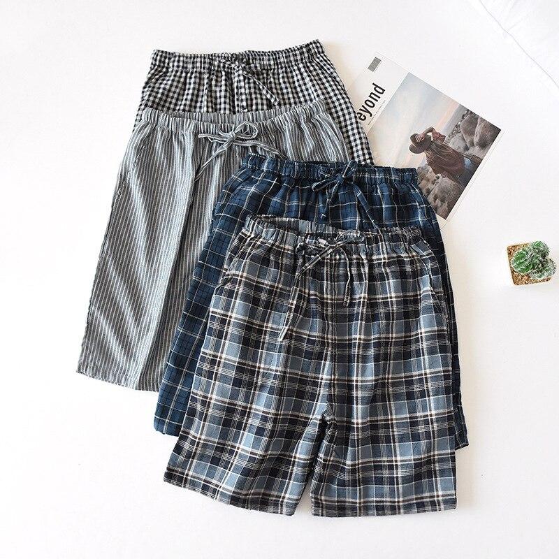 Mens Plaid Shorts Cotton Gauze Pants Summer Pajamas Five-point Shorts Men's Home Pants Beach Thin Sleep Bottoms Pijama Pants