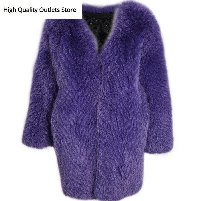 Real Fur Coat Ladies Natural Fur Coat Long Women Fox Fur Coat Long