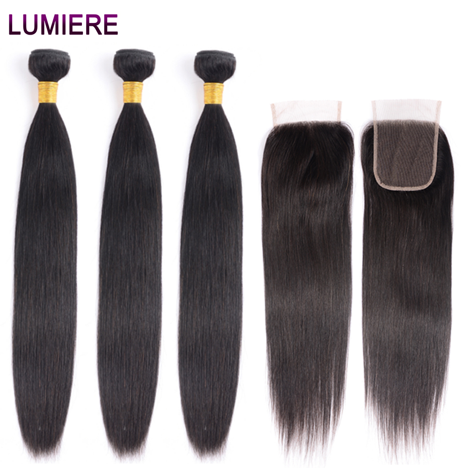 Lumiere Hair Straight Human Hair Bundles With Closure Indian Hair Extensions With Lace Closure Non Remy Bundles With Closure