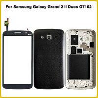 삼성 galaxy grand 2 ii duos g7102 g7106 g7100 배터리 백 커버 도어 중간 프레임 + lcd 전면 유리 용 전체 하우징 케이스