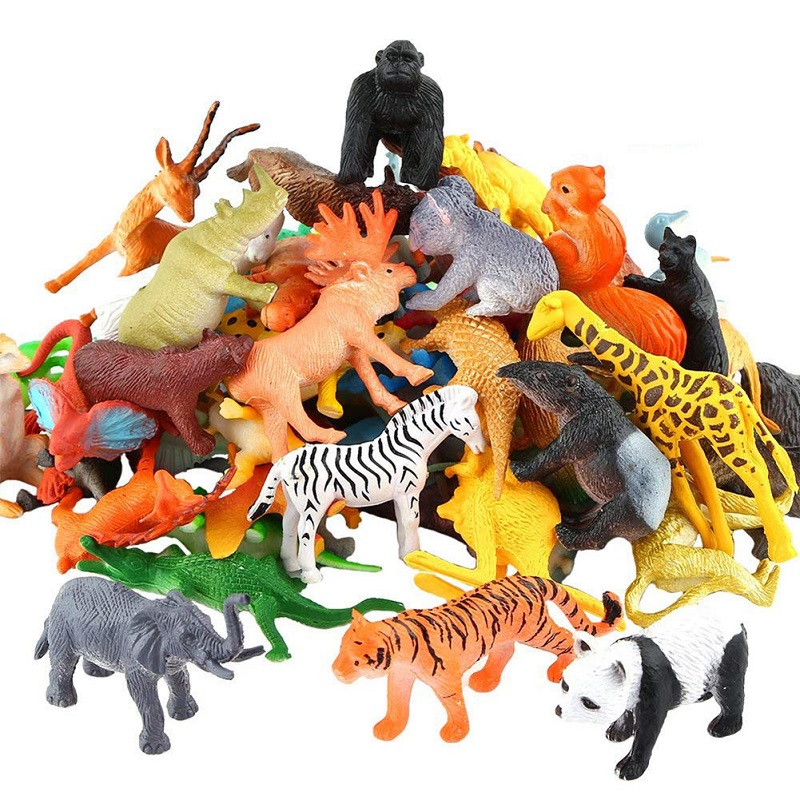 RCtown 53pcs/set Dinosaur Wildlife Model Children Puzzle Early Education Gift Mini Jungle Animal Toy Set