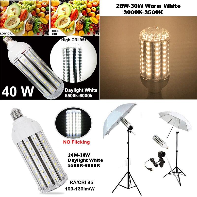 High CRI RA 95+ LED Bulb 100-130lm/W AC85V-265V E27 LED Corn Light NO Flickering Record Video High Effciency Energy Saving Light