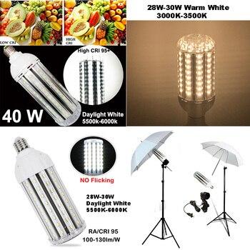 High CRI RA 95+ LED Bulb 100-130lm/W AC85V-265V E27 LED Corn Light NO Flickering Record Video High Effciency Energy Saving Light цена 2017