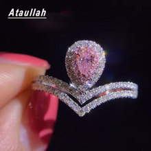 Ataullah Waterdrop Ring Pink Color Full Bling Cubic Zircon Luxury Female Wedding Rings Silver 925 Jewelry For Women RW094