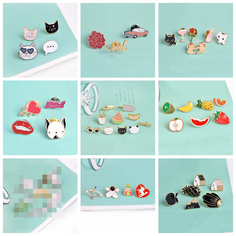 Broches colecionáveis de pinos de frutas, 3 a 12 peças/set broches fofos para mulheres e meninas de gato, pinos de abacaxi