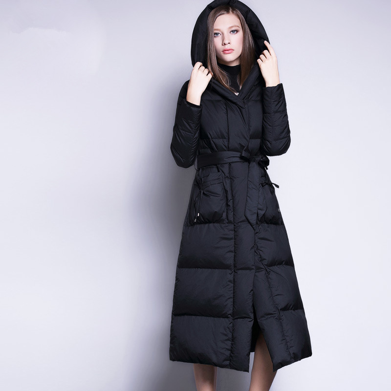 Jacket Winter Women White Duck Down Coat Female Jackets Long Parka Ladies Outerwear Hooded Manteau Femme Hiver WYQ821 S