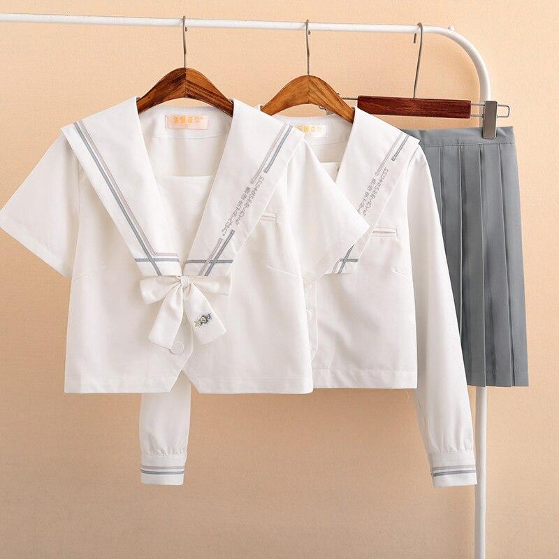 Preppy Wind High School Uniforms For Girls Japanese JK Uniform White Green Shirt Options Sailor Suit Female Student Clothes