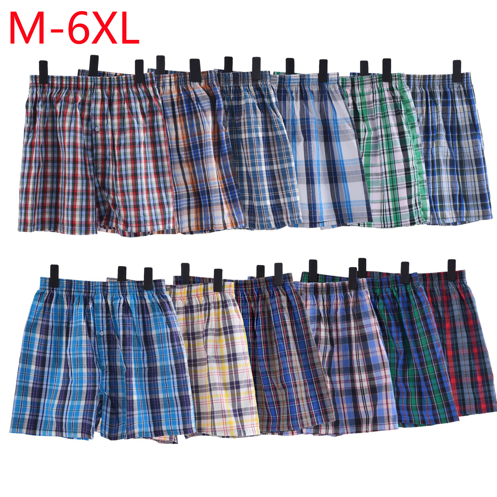 6PCS mens underwear boxers shorts casual cotton sleep underpants quality plaid loose comfortable homewear striped arrow panties