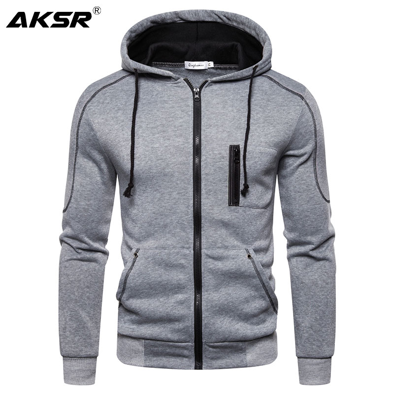 AKSR Men Hoodies Cardigan Sweatshirt Zipper Streetwear Hip Hop One Piece Hoodie Sports Plain Hoodie Hooded Sweatshirts Sudadera