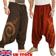 Мужские мешковатые штаны-шаровары больших размеров; фестивальные хиппи; Boho Alibaba; шаровары; брюки-дезерты; Египетский загадочный узор; мужская одежда;