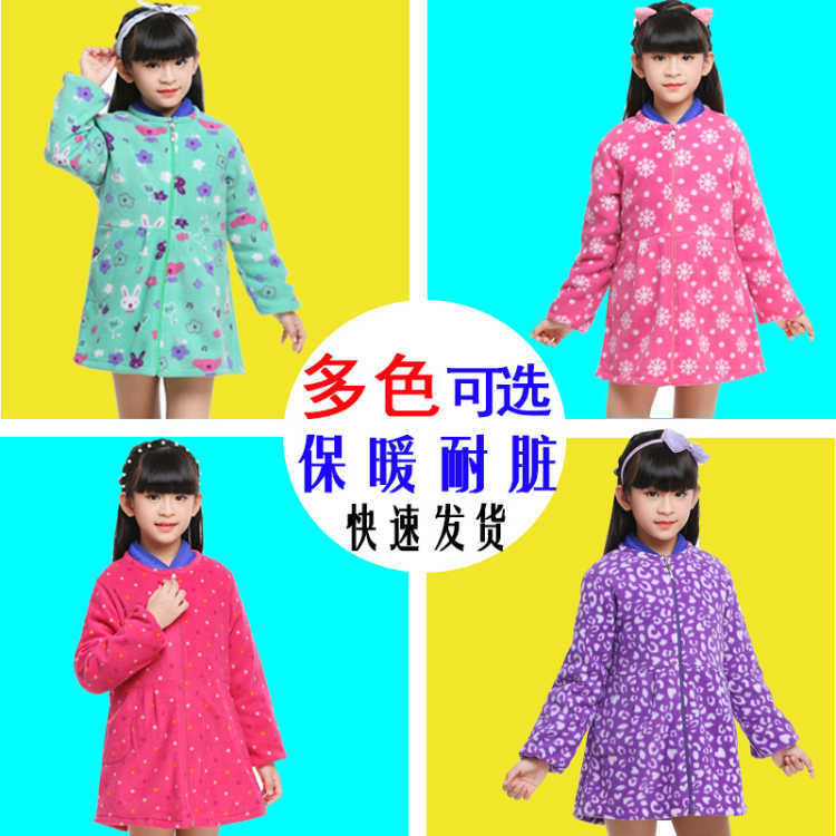 Overclothes Dress Children Autumn & Winter Down Jacket Anti-Thick Big Virgin Girls Long Sleeve Plus Velvet Zipper Protective Clo