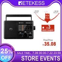 Retekess tr626 am fm sw lw rádios portáteis, com bluetooth ac ou 4xd bateria de rádio analógico grande botão, para idosos