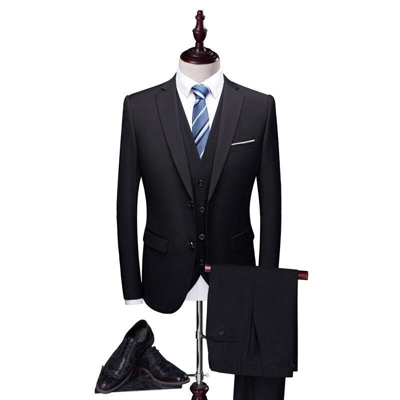 Suit Men Three-piece Set Business Formal Wear Business Small Suit Korean-style Slim Fit Groom Best Man Marriage Formal Dress