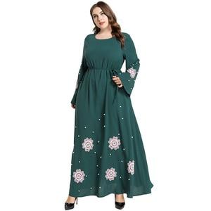 Abaya Dubai Dress Plus Size Women Flare Long Sleeve Embroidery Floral Beading Elegant Party Dress Green Maxi Muslim Dresses