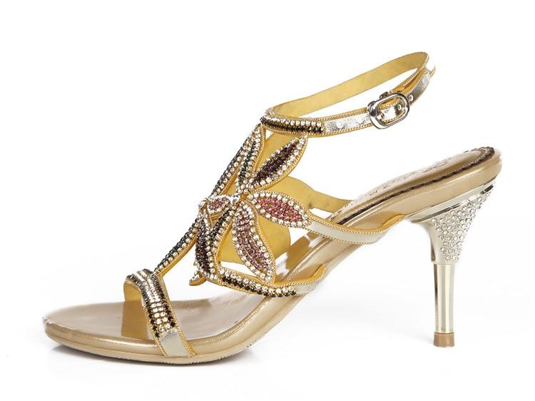 G-sparrow New Large Size Diamond Gold Crystal Wedding High Heeled Sandals Rhinestone Thick Heel Elegant Shoes14