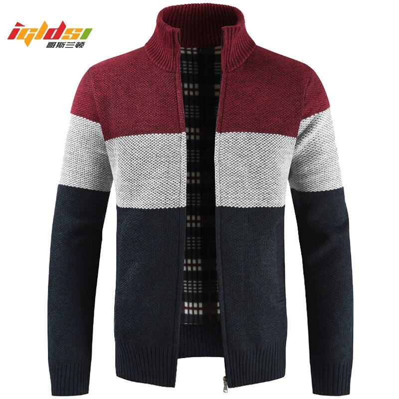 New 2019 Winter Men's Fleece Sweater Coats Thick Cardigan Coats Men Clothing Autumn Gradient Knitted Zipper Jackets Size M-3XL