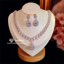 CC Stud Earring Necklace Set 925 Sterling Silver Wedding Jewelry for Women Bridal Party Accessory Shine Cubic Zircon CCAS224