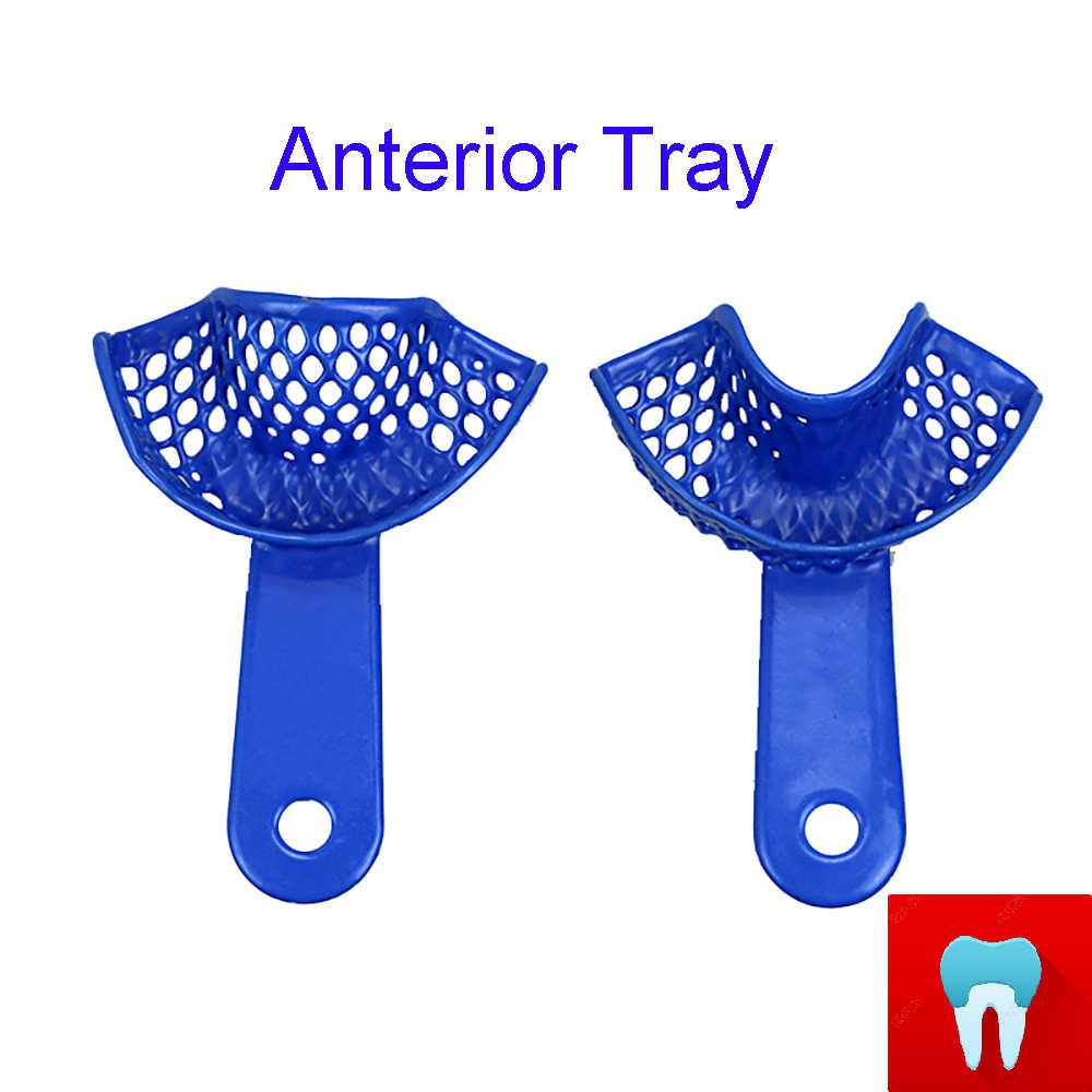 10 قطعة الأسنان الانطباع صينية البلاستيك الصلب أصحاب الأسنان أداة طبيب الأسنان مواد طب الأسنان أدوات طبيب الأسنان