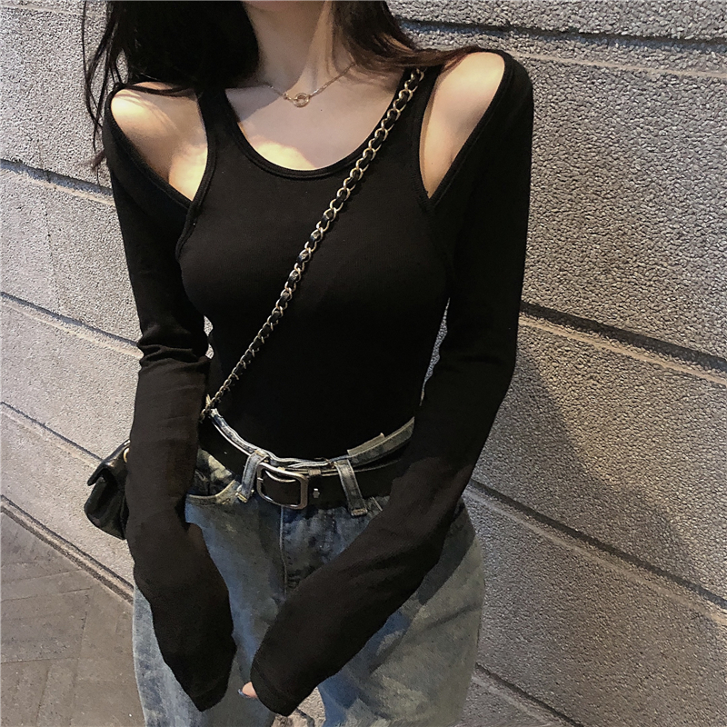 Female Full Sleeve O-neck Cropped T-shirt Girls Slim Stretchy Chic Off-shoulder Patchwork  Tshirts Crop Tops For Woman 2020