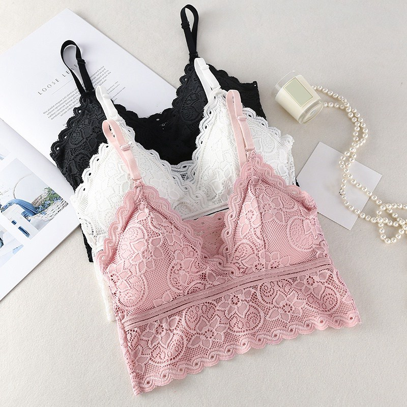 Women Fashion Wireless Bra Padded Bralette Deep V Lace Bras Summer Crop Top Embroidery Floral Tank Top