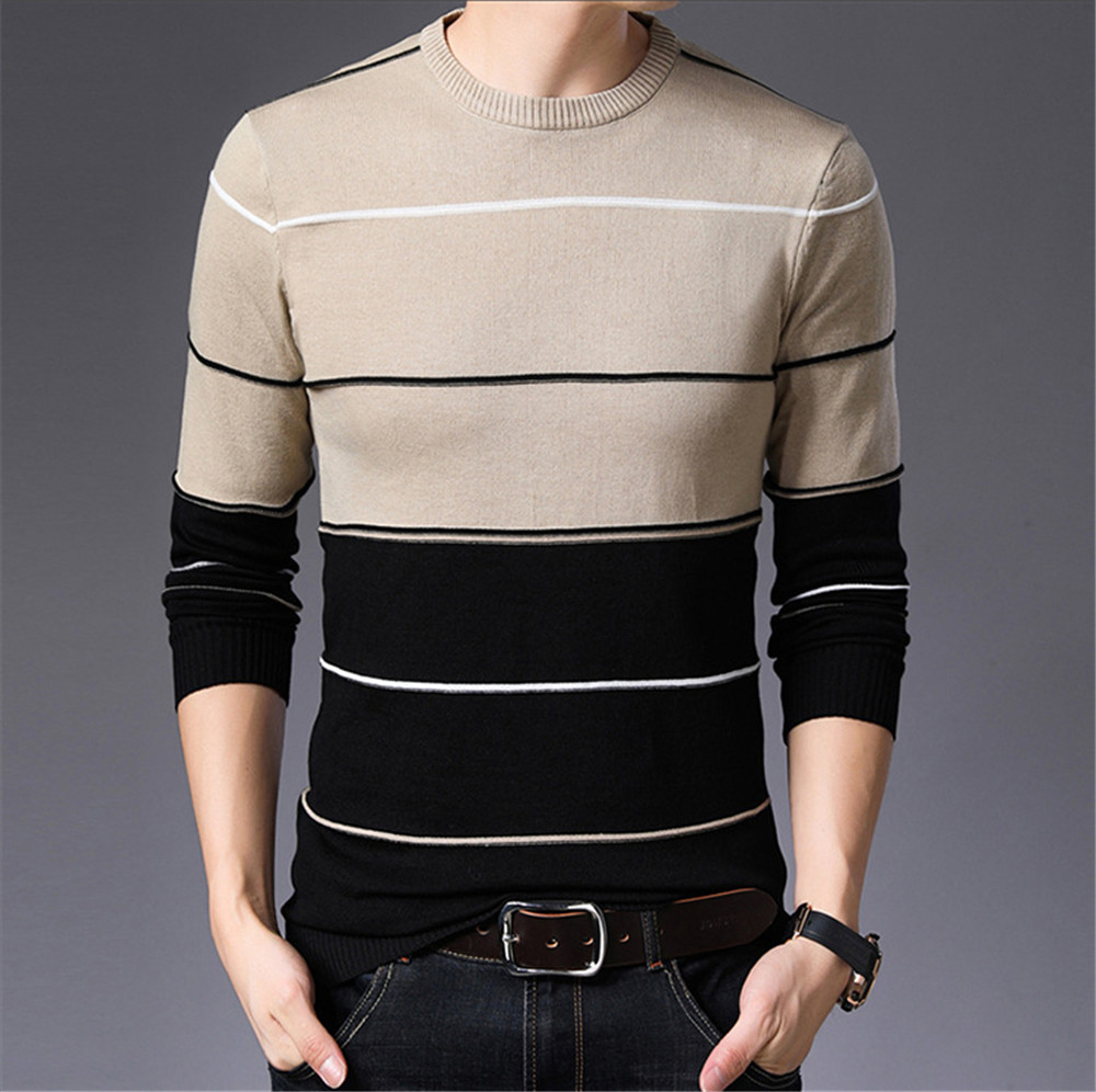 Mens Sweater Fashion Pullovers Autumn Winter Warm Sweater Men Striped Slim Fit Knitted Woolen Sweater Male Casual Clothes
