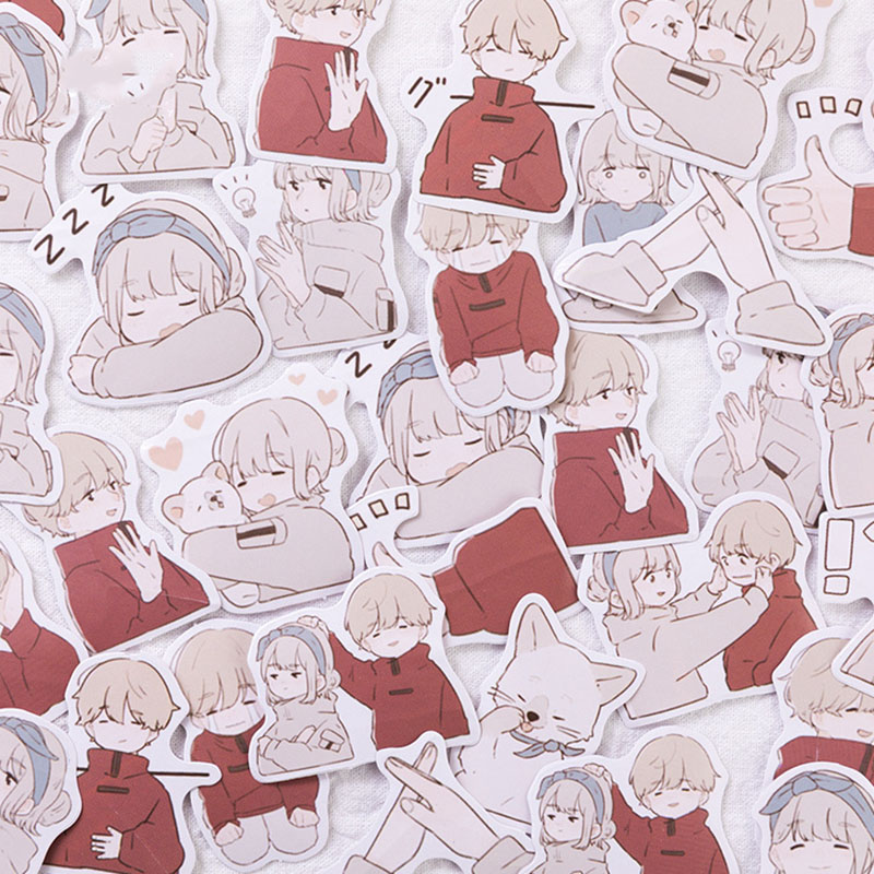 45 Pcs/Box Cute Boys Girls Love Sticker Lovely Stationery Sticker Kawaii Japanese Sticker For Diary Scrapbooking DIY Decoraction