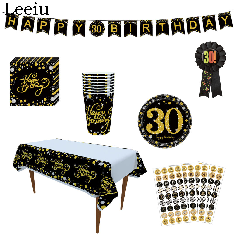 Leeiu Happy 30 40 <font><b>50th</b></font> <font><b>Birthday</b></font> Disposable Tableware Set Adult <font><b>Birthday</b></font> Favors Black Gold Paper Plate Cup <font><b>Birthday</b></font> <font><b>Party</b></font> Supply image