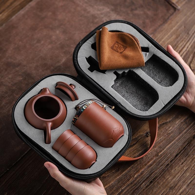Purple Sand Tea Cups Ceramic Portable Teapot Set Outdoor Travel Gaiwan Tea Cups of Tea Ceremony Teacup Fine Gift Kung Fu Tea Set