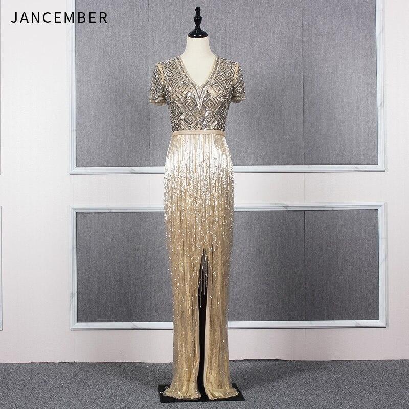 JANCEMBER Sexy V Neck Prom Dresses 2019 Slit Mermaid Zipper Back Tassel Crystal Sequin Luxury Long Prom Dresses Bestidos De Gala