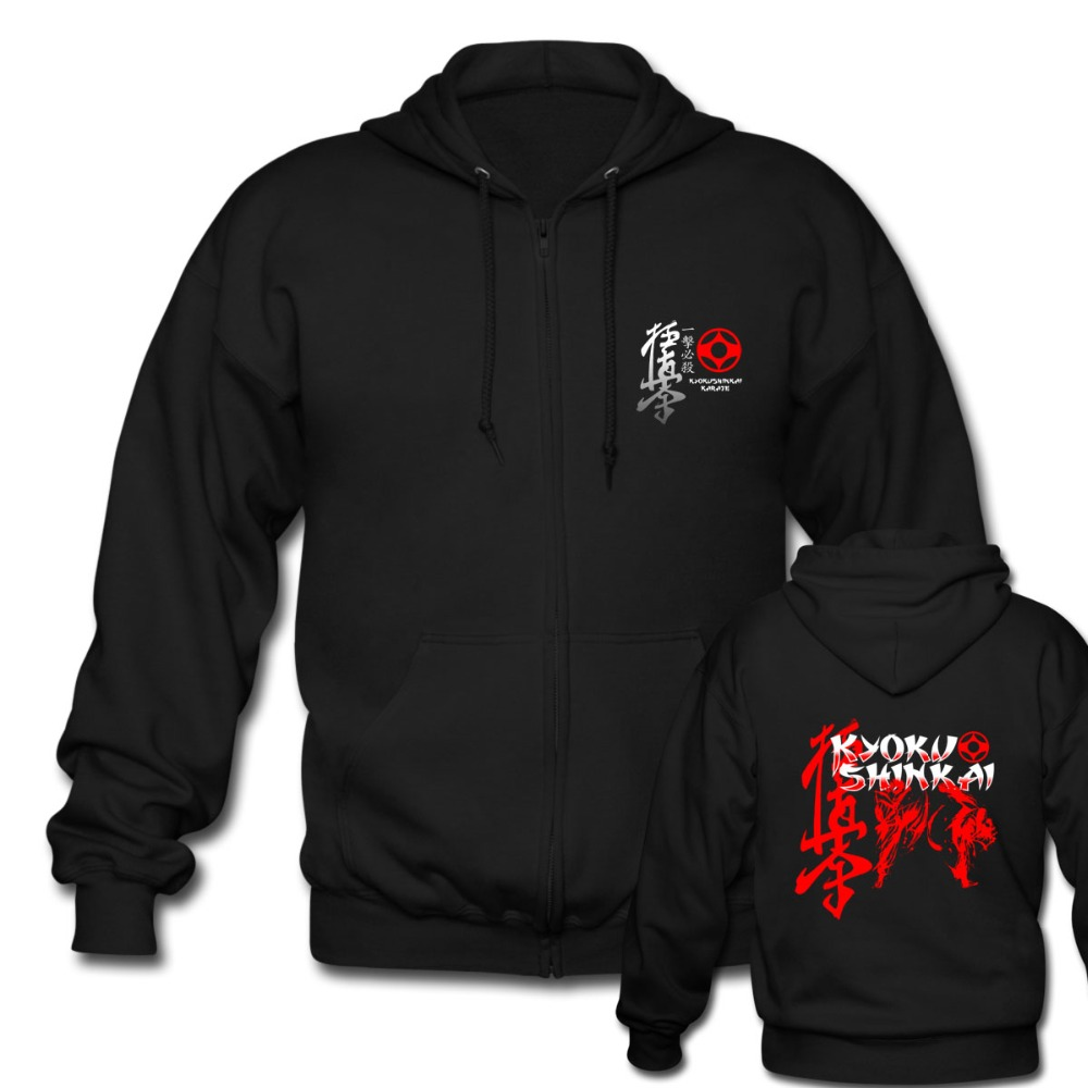 Kyokushinkai Kan Kyokushin Karate Philosophical Men's Black Zipper Hoodies mens Sweatshirts custom Hooded Jacket Coat Sportswear