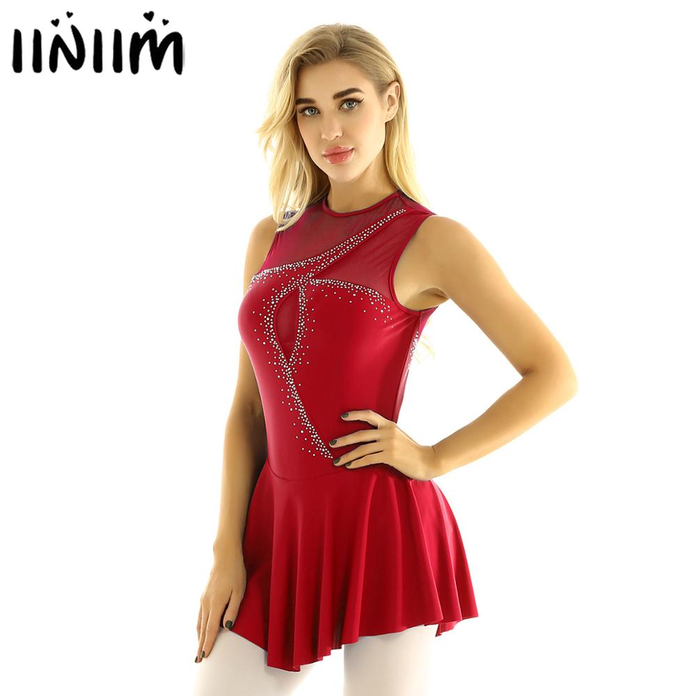 Iiniim Women Adult Keyhole Back Mesh Splice Bodice With Shiny Rhinestones Figure Ice Skating Dress Ballet Dance Leotard Dress