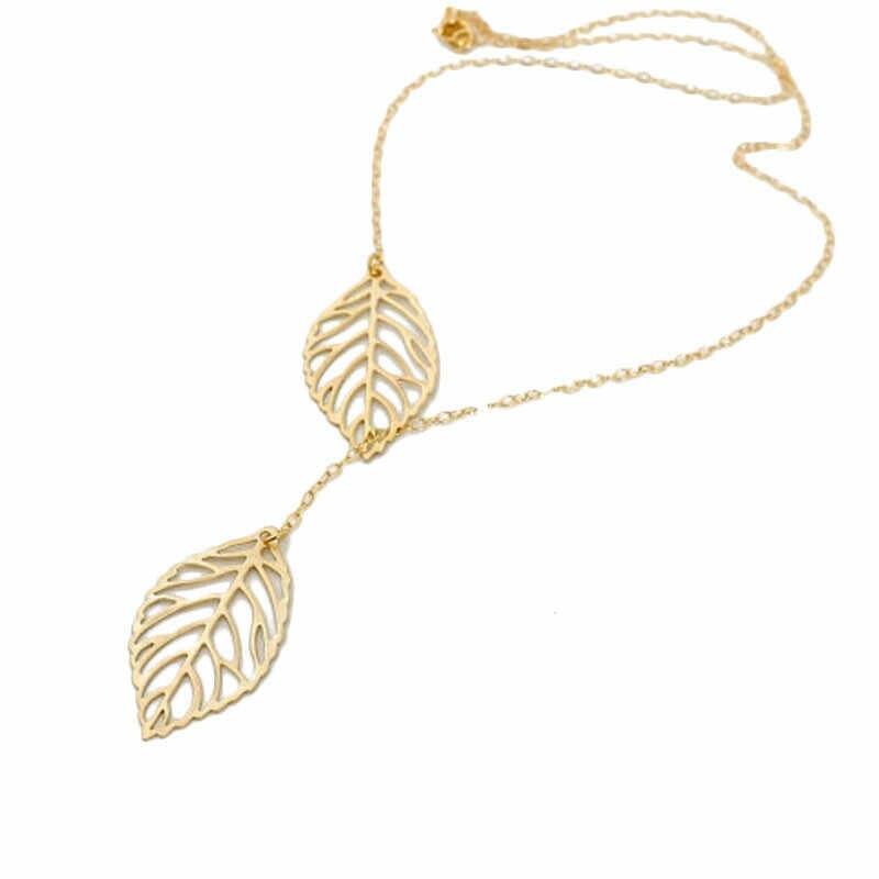 1PC Frauen Mädchen Einfache Metall Doppel Blatt Anhänger mode Legierung Halsband Halskette elegante Frauen Schmuck Geschenke Dropshipping